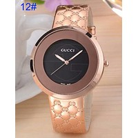GUCCI Fashion Woman Men Print Watch Business Watches Wrist Watch(16-Color) 12# Golden I-CTZL