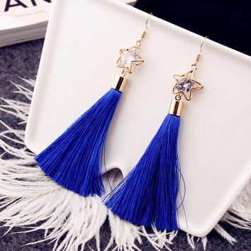 Rhinestone Korean Fashion Diamonds Tassels Women's Alloy Earring Earrings [4915712964]