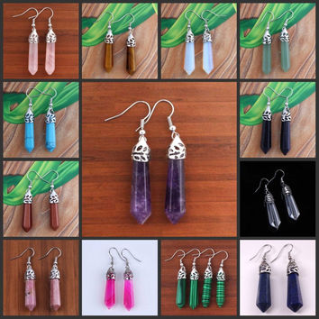 Trendy Silver Plated Stone Drop Earrings Women Unbranded