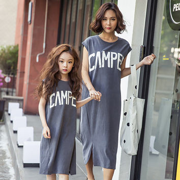 New 2017 Summer Mother Daughter Dress Family Matching Clothes Cotton Letter Printed Mom And Daughter Dresses Family Look Outfits