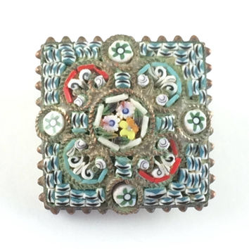 Vintage Micro Mosaic Brooch Victorian Antique Italian Micromosaic Tesserae Pin Vintage Estate Jewelry Signed Italy Colorful Millefiori
