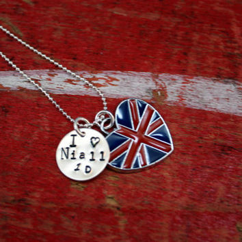 I love Niall Horan One Direction  British Flag Charm Necklace Pendant