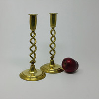 Vintage Brass Open ThCoil Design 10 Inch Candlestick Holders
