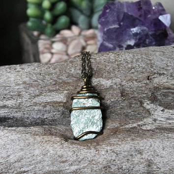 Fuchsite Pendant, Natural Stone Necklace, Rough Stone Jewelry, Boho Jewelry, Festival Fashion, Hippie Style, Wire Wrapped Fuchsite Necklace