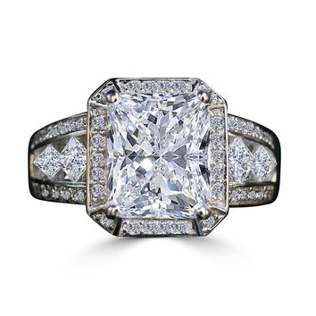 3.5 CT. (11x9mm) Intensely Radiant Diamond Veneer Center Framed Halo Settings Sterling Silver Vintage Style Ring. 635R71484