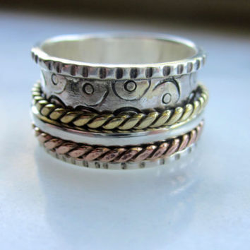 Sterling silver stackable rings copper bands handcrafted spinner rings meditation worry fidget wedding bands wide bands CLEARANCE