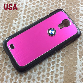 BMW Samsung Galaxy S4 Case BMW 3D metal Logo Premium Cover for S4 / i9500 - Pink