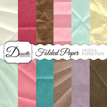 Instant Download- Folded Paper Texture Pastel Pink Blue Cream Ivory Brown Digital Scrapbooking Paper Pack Personal and Commercial Use