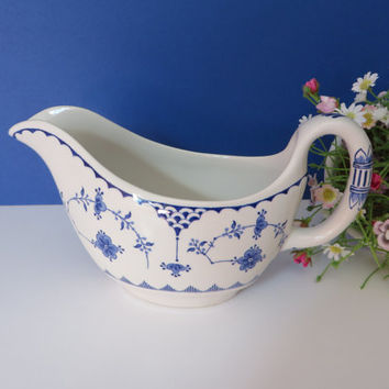 Furnivals vintage blue and white gravy or saucer boat