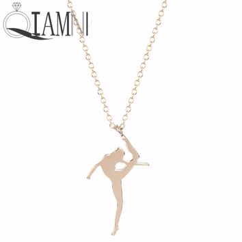 QIAMNI Beautiful Angel Dream Ballet Girls Dancer Necklace Pendant Collares Fashion Accessories Jewelry Love Gift for Girls Women