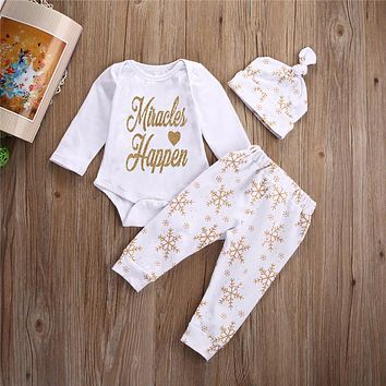 Baby Girl Autumn Romper Boy Christmas Clothes Tops Snow print  Pants Hat Outfit Set