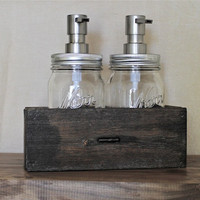 "Industrial Home Soap and Lotion Dispenser Combo Set - Two 16 ounce dispenser jars - ""Samuel"" Style"