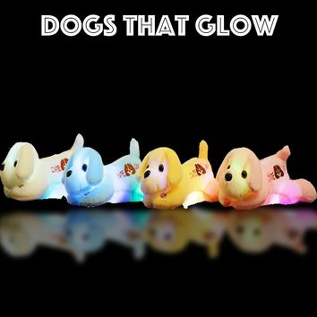 Soft Light Up Dog -Glow Flash Toy-7 Mood Colours Flashing Cosy Stuffed Plush Animal Puppy Gift For Kids Toddlers Children Party