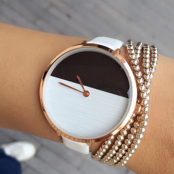 2017 New Design Two Color Wooden Style Simple Dial Watch Women Elegant Thin Strap Fashion Any match Casual Lady Wristwatch hours