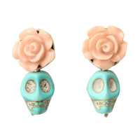 LOVEsick Day Of The Dead Skull Rose Earrings