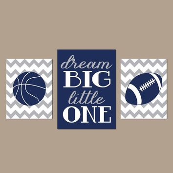 SPORTS Wall Art, Dream Big, CANVAS or Prints, Boy Bedroom Pictures, Sports Theme Decor, Baby Nursery Decor, Basketball Football, Set of 3
