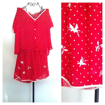 70's Vintage Crop Top Pajama Set // Red and White Polka Dot Lingerie Sz M-L