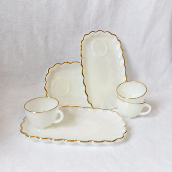 Antique Milk Glass Tea Set - Gold - White Glass - Vintage Dinnerware - Antique Milk Glass - Shabby Chic - Tea Cup - Vintage Tea Cup