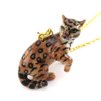 3D Porcelain Ocelot Dwarf Leopard Cat Shaped Ceramic Pendant Necklace