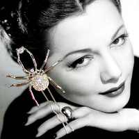 Rhinestone Hair Comb Spider w/ Prey Halloween Wedding Costume Accessory Hairpiece Hairpin