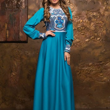 Blue maxi dress, Spring Autumn long sleeve dress, long evening dress 2016, special occasion formal dress, fashion dress, printed dress