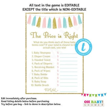 Price is Right Editable, Baby Shower Game Template, Pink Blue Gold Gender Reveal, Baby Shower Sign, Gender Neutral, Girl, Boy, TASPBG