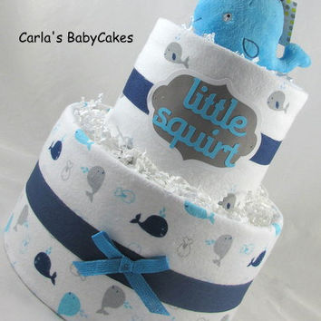 Whale diaper cake | Boy diaper cake | Nautical diaper cake | Baby shower gift | Baby boy gift | New mom gift | Baby sprinkle gift