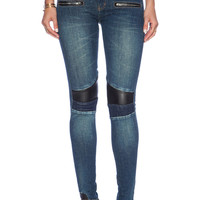 Etienne Marcel Motor Jeans With Leather Inserts