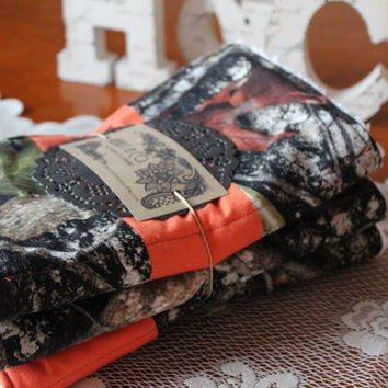 Chenille Burp Cloths- Camo/ Camouflage/ Camouflage and Hunter Orange (Set of 3)