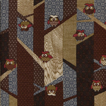 Owls in Trees (in Tan, Brown, Blue) Japanese Cotton Quilting Fabric KW1312-1C