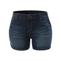 Fitted High Rise Push Up Denim Jean Shorts