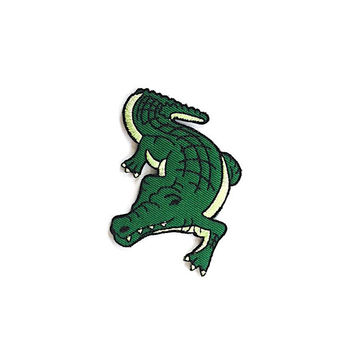 Crocodile Green Embroidered Applique Iron on Patch Size 6.5 x 9 cm
