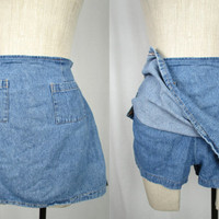 Vintage 90s Blue Denim Skort by Dori Mini Skirt High Waisted Jean Shorts Size Small Medium 28 Grunge Club Kid w/ Pockets