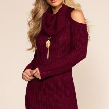 Dion Cold Shoulder Sweater Dress - Burgundy