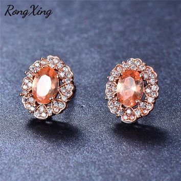 RongXing White/Champagne Oval Crystal Zircon Stud Earrings for Women Small Heart Double Side Rose Gold Filled Birthstone Earring
