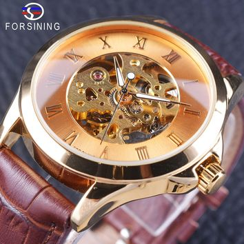 Forsining GMT1058 Brown Minimalist Style Golden Openwork Watch Men's Watches Mechanical Skeleton Wristwatch Brown Genuine Leather Clock