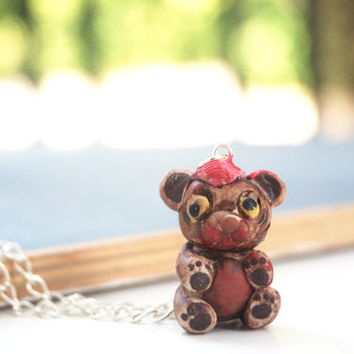 Halloween Zombie Teddy Bear, Handmade Cute and Spooky Miniature Zombie, Polymer Clay OOAK