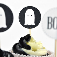Halloween Cupcake Topper Set of 12, Ghost Cupcake Flags, Illustrated Halloween Decor | Cupcake Picks
