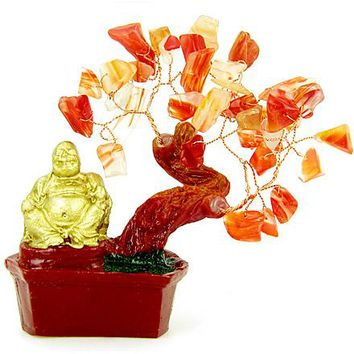 Good Luck Talisman Red Agate Buddha Tree