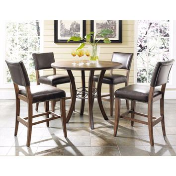 4671CTBWS4 Cameron 5-Piece Counter Height Round Wood Dining