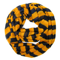 Navy Striped Scarf Infinity Scarf Teen Tube Scarf Fun Eternity Scarf Double Loop Scarf Navy Blue Gold Womens Scarves Teen Gift Ready to Ship