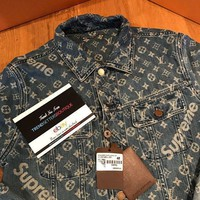 Louis Vuitton X Supreme Trending Women Men Loose Logo Print Long Sleeve Denim Cardigan Jacket Coat I