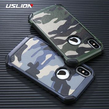 USLION Cool Camouflage Phone Case For iPhone 6 6s 7 Plus Army Camo Phone Cases Shockproof Armor Back Cover For iPhone X 5 5s SE