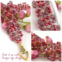 Cranberry Swarovski Gold Glass Pearl Lacy Woven Beaded Bangle Bracelet