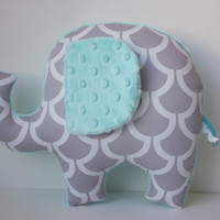 Modern elephant pillow, Pale Aqua blue grey gray nursery decor, baby shower gift