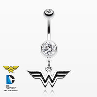 Classic Wonder Woman Dangle Belly Button Ring