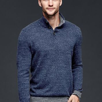 Gap Men Marled Button Mockneck Sweater