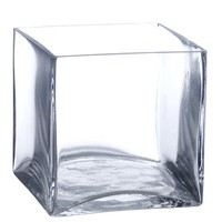 "5"" Square Glass Vase - 5 Inch Clear Cube Centerpiece - 5x5x5 Candleholder"