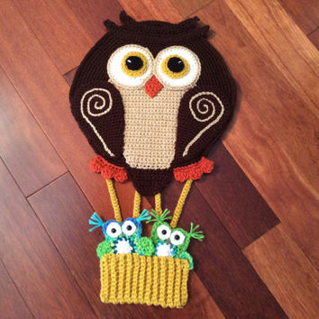 Owl Hot Air Balloon Tutorial - Owl Applique - Crochet Pattern - Nursery Decor - Wall Hanging -  pdf - owl embellishment