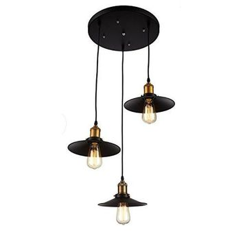 Edison 3 Pendant Industrial Light Fixture - Bulbs Included, Matte Black/Antique Brass